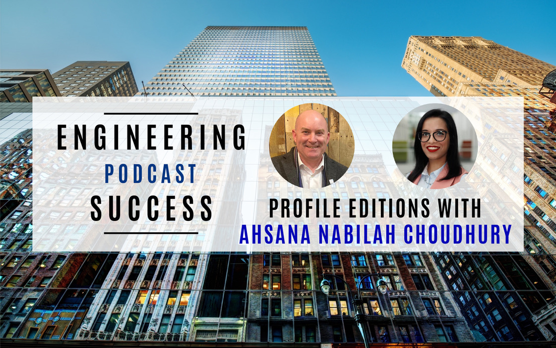 """Banner with two portraits; one of Jaemie Hutton and one of Ahsana Nabilah. Heading reads: """"Engineering Podcast Success, Profile Editions with Ahsana"""""""